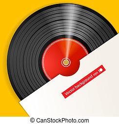 cubierta, disco, negro, vinilo