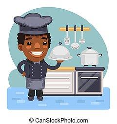 cubierta, metal, chef, tapa, cloche, caricatura