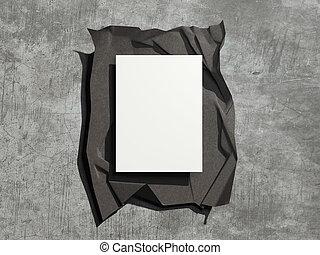 Cubierta oscura con sábanas en blanco. 3D