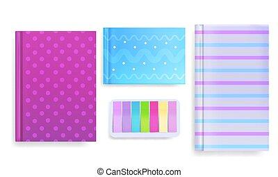 Cubiertas de diario y notas de mensaje ilustración vectorial