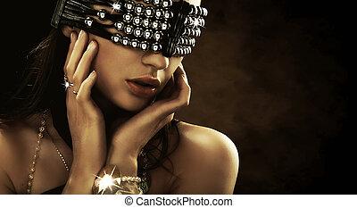 cubierto, ojos, retrato de mujer