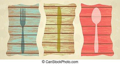 Cubiertos sobre textura de madera, menú