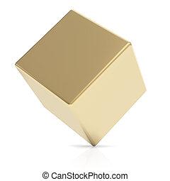 Cubo 3D dorado en blanco
