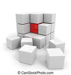 cubo blanco, core., armados, rojo