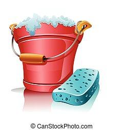Cubo con espuma y esponja de baño