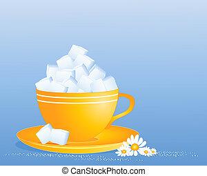cubo de azúcar, taza