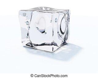 Cubo de hielo aislado en blanco