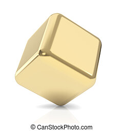 Cubo de oro 3D en blanco