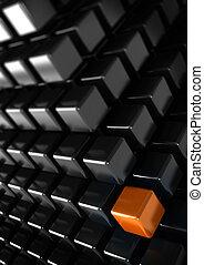 Cubo naranja con muchos cubos negros, un concepto único o diferente, fondo de negocios vertical
