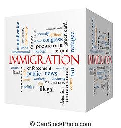 cubo, palabra, inmigración, concepto, nube, 3d