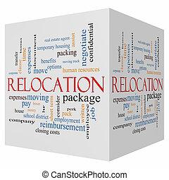 cubo, palabra, recolocación, concepto, nube, 3d