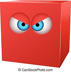Cubo rojo tridimensional con ojos.