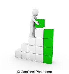 cubo, verde, humano, torre, blanco, 3d