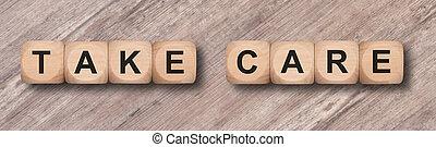 cubos, escrito, cuidado de la toma, de madera