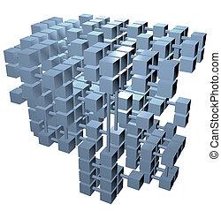 cubos, red, base de datos, conexiones, datos, estructura
