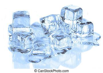 cubos, reflexivo, derretimiento, superficie, fresco, hielo, blanco