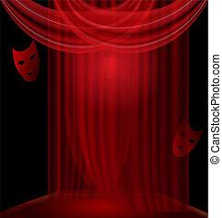 cubrir, negro, habitación, rojo
