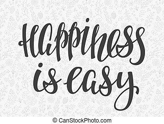 cubrir, tipografía, letras, felicidad