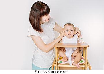 cuchara, aislado, bebé, blanco, alimentación