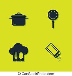 cuchara, freír, conjunto, olla de cocina, sal, sombrero, pimienta, tenedor, icon., vector, cacerola, chef