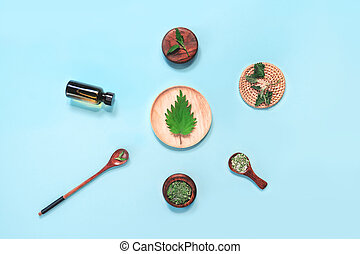 cuchara, hojas, ortiga, sal