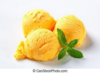cucharadas, sorbete de mango