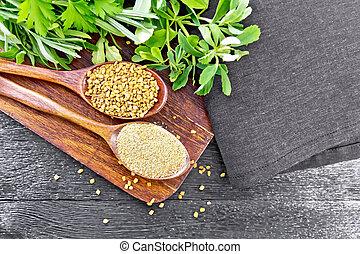 cucharas, cima, dos, hierbas, fenugreek, tabla