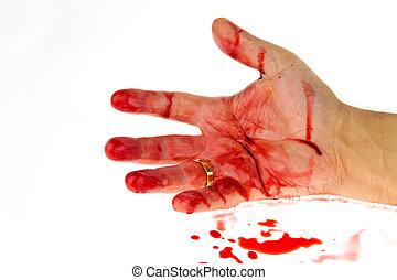 Cuchillo con sangre. Crimen. Un arma homicida.