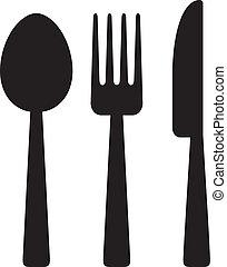 Cuchillo, tenedor y cuchara