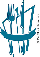 Cuchillo, tenedor y servilleta en azul