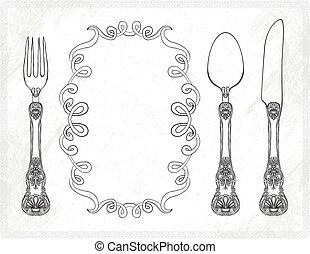 Cuello de vector, cuchara, tenedor, cuchillo