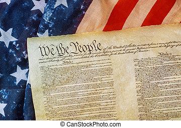 cuenta americana, derechos, bandera, primer plano, nosotros, gente, grunge