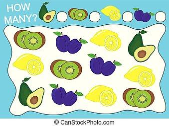 Cuenta cuántas frutas. Juego educativo para niños de preescolar. Ilustración de vectores.