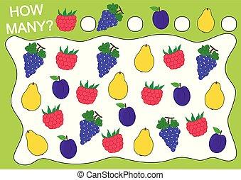 Cuenta cuántas frutas (raspberry, uvas, ciruela, quince). Juego educativo para niños de preescolar. Actividad de lectura. Ilustración de vectores.