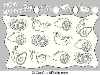 Cuenta cuántas frutas y colorearlos. Juego educativo para niños de preescolar. Ilustración de vectores.
