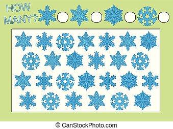 Cuenta cuántos copos de nieve. Juego educativo para niños de preescolar. Actividad de lectura. Ilustración de vectores.