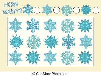 Cuenta cuántos copos de nieve. Juego educativo para niños. Ilustración de vectores.