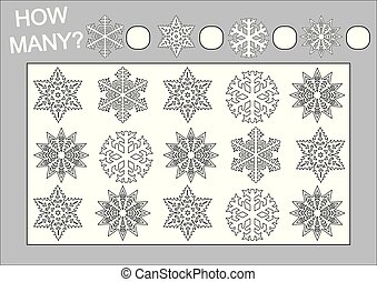 Cuenta cuántos copos de nieve y coloréalos. Juego educativo para niños. Ilustración de vectores.