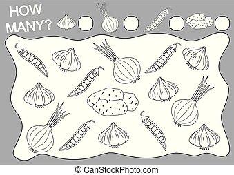 Cuenta cuántos vegetales. Página de color. Juego educativo para niños de preescolar. Actividad de lectura. Ilustración de vectores.