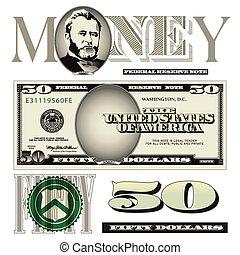 cuenta, elementos, dólar, cincuenta
