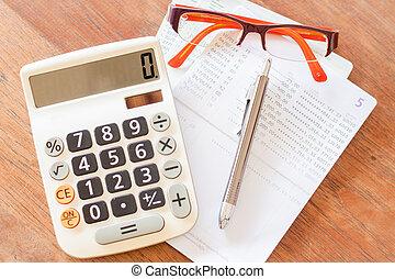 cuenta, lentes, calculadora, cima, passboo, pluma, banco, vista