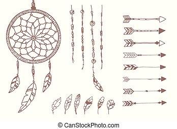 cuentas, receptor, plumas, flechas, mano, norteamericano, dibujado, sueño, nativo