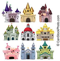 cuento, castillo, icono, hada, caricatura