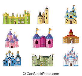 cuento de hadas, icono, caricatura, castillo