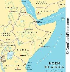 Cuerno de mapa político africano