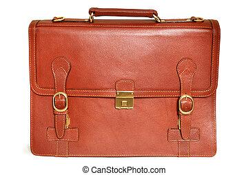 cuero, bolsa marrón