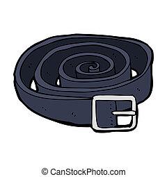 cuero, caricatura, cinturón