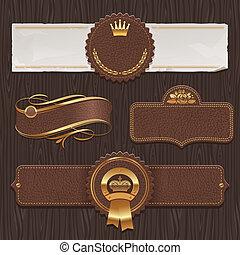 cuero, dorado, etiquetas, y, encuadrado