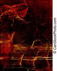Cuero viejo, fondo texturizado, rojo, amarillo y marrón en el fondo oscuro