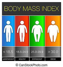 cuerpo, índice, vector, icons., infographic, masa